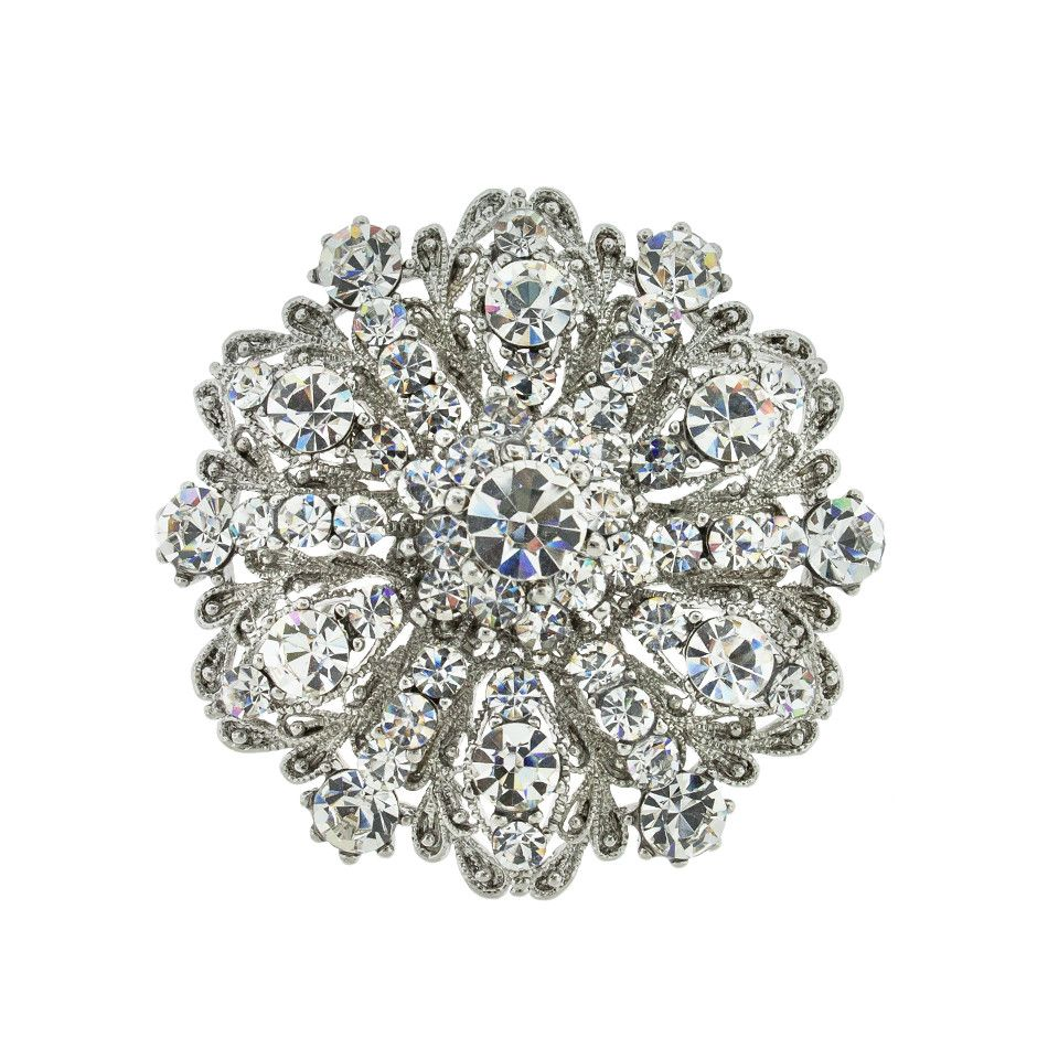 """Add detail and sparkle to your look with this vintage-style brooch. 2 1/8"""" wide. Non-tarnishing rhodium plate."""