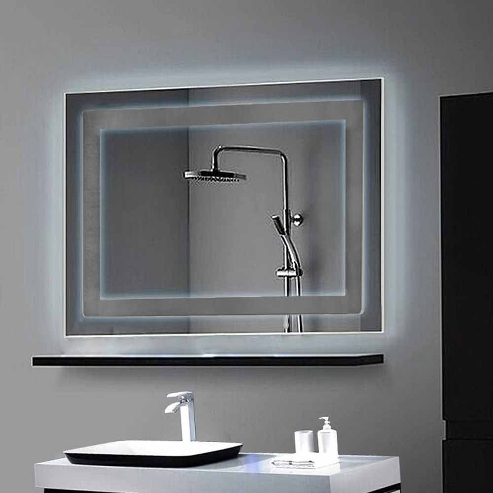 Amazon.com - Decoraport Horizontal LED Wall Mounted Lighted Vanity Bathroom Silvered Mirror with On/off Switch / 32 Inch * 24 Inch (Yj-2424h) -