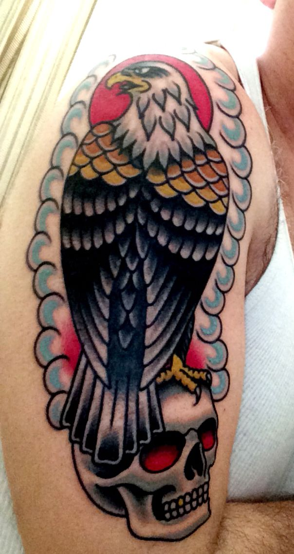 American Traditional Skull And Eagle: New American Traditional Eagle Tattoo!