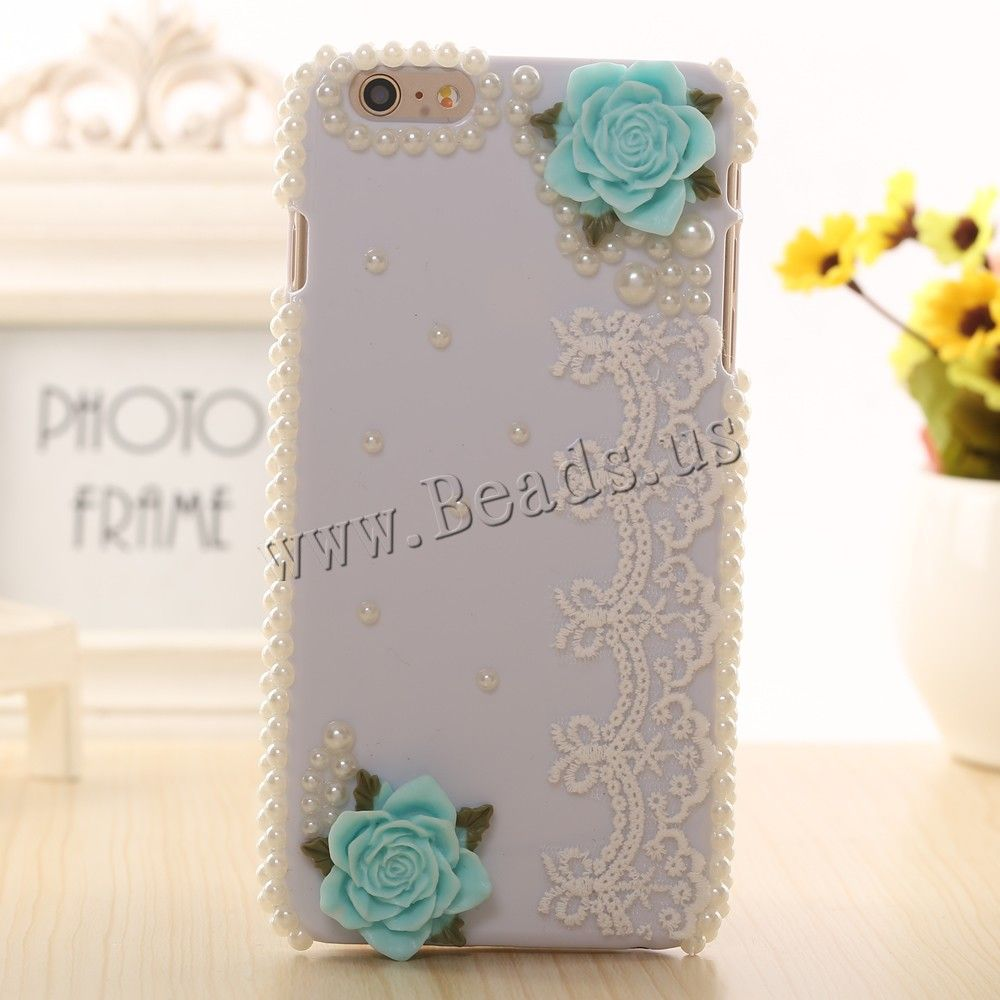 Mobile Phone Cases, PC Plastic, with ABS Plastic Pearl & Lace & Resin
