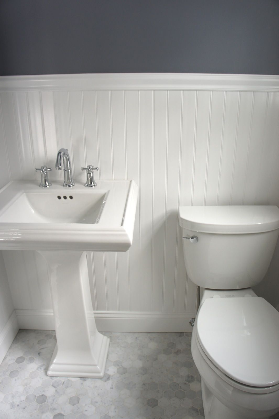 Carrara Bianco Hex Polished Craftsman Bathroom Modern Master