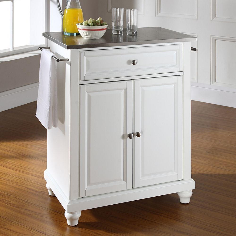 Crosley Alexandria Kitchen Island Countertop Soap Dispenser Furniture Cambridge Stainless Steel Top White Islands