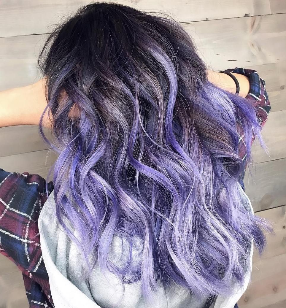 Brown Hair With Purple And White Highlights Purple Ombre Hair Pastel Purple Hair Hair Dye Tips