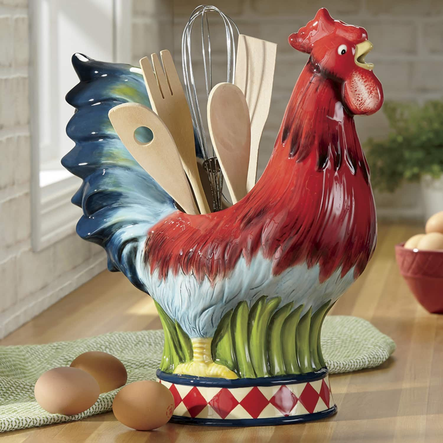 Rooster Caddy with Utensil Set Seventh Avenue