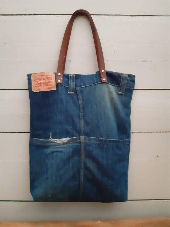Levis jeans bag, tote bag, denim bag, jeans tote bag, Levis tote bag, eco bag, gift for him, Upcycling jeans, upcycled Levis jeans