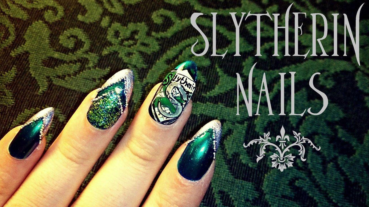 Slytherin Nails Nails Pinterest Nails Harry Potter