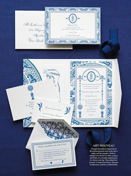 Blue And White Chinoiserie Wedding Suite Smock Paper
