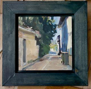 """""""Une rue de Coulon"""" Huile sur toile 15x15cm (6x6"""")"""