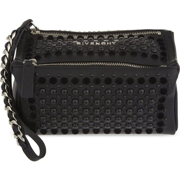 31d974bcadae GIVENCHY Pandora studded leather wristlet pouch ( 750) ❤ liked on Polyvore  featuring bags
