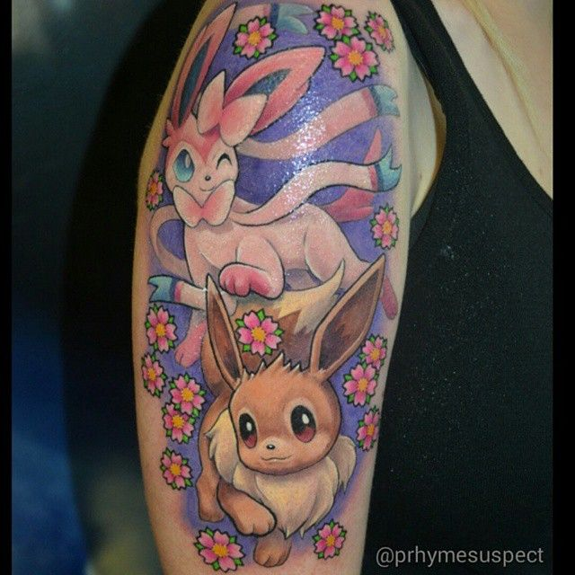 """#pokemonday #2 Eevee & Sylveon by @prhymesuspect #pokemon ...  ""#pokemonday ..."