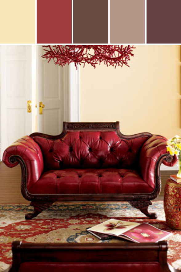 Old Hickory Tannery Red Tufted Leather Sofa Loveseat Designed By Horchow Via Stylyze