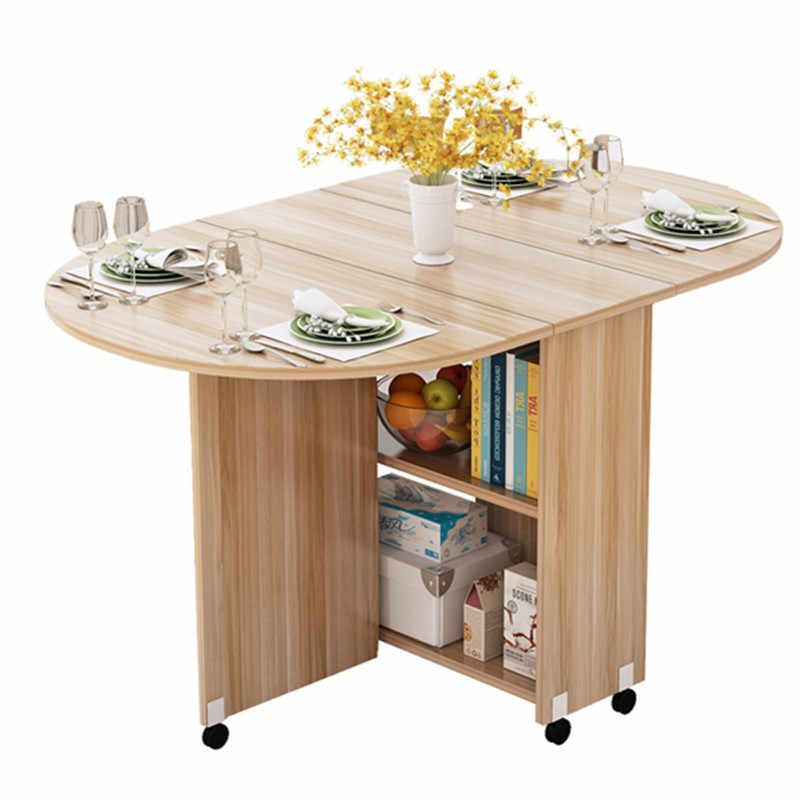 Folding Movable Dining Table With Multidirectional Wheel Wooden