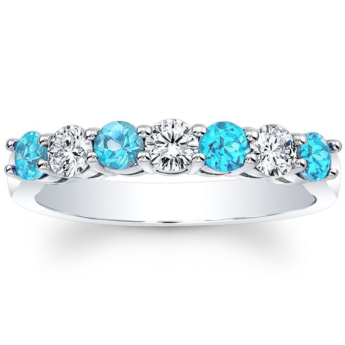 Seven Stone Diamonds Blue Topaz Wedding Band JEWELS