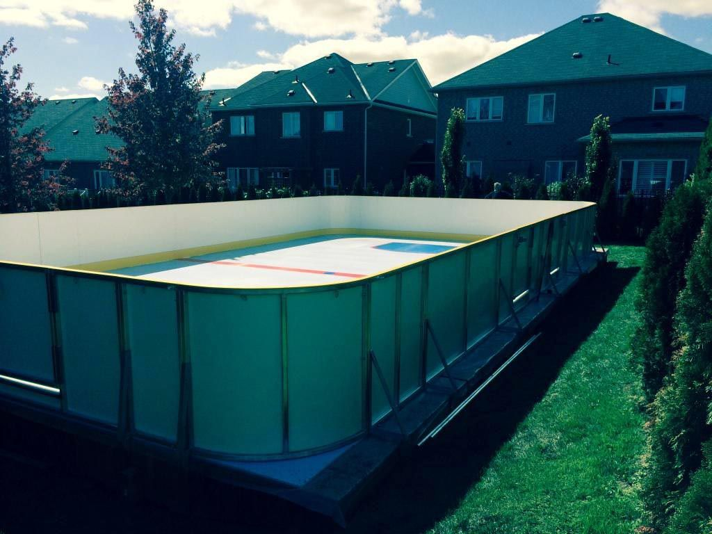 Synthetic Ice Rink · Backyard Beauty In Stouffville Ontario! A 30 X 48  Surface Using Our ProFast1800 With Permanent