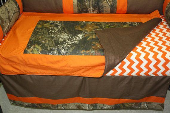 5 Pc Mossy Oak Camo Orange Brown Chevron Baby Bedding