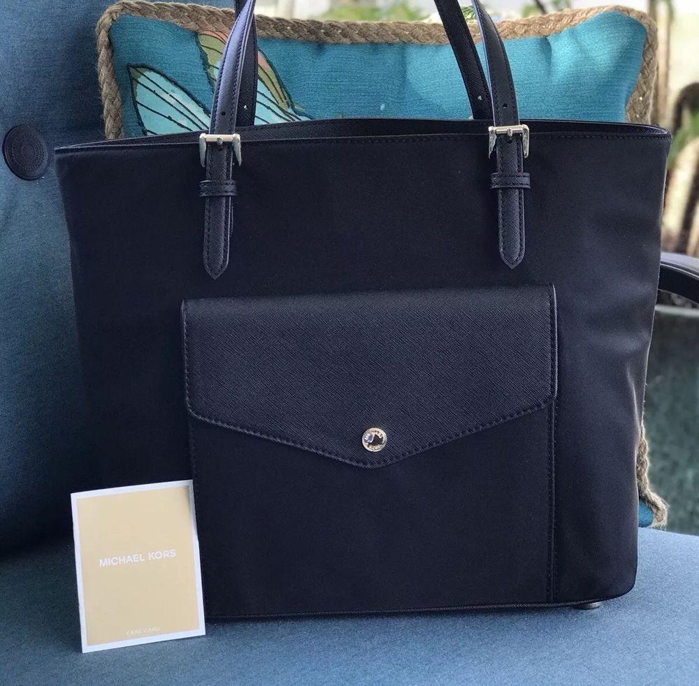 002e6f3465b2 Michael Kors NWT Jet Set Pocket MF Tote Bag Black #fashion #clothing #shoes  #accessories #womensbagshandbags  #seemoremichaelkorsjetsetpocketmftotebagblack ...