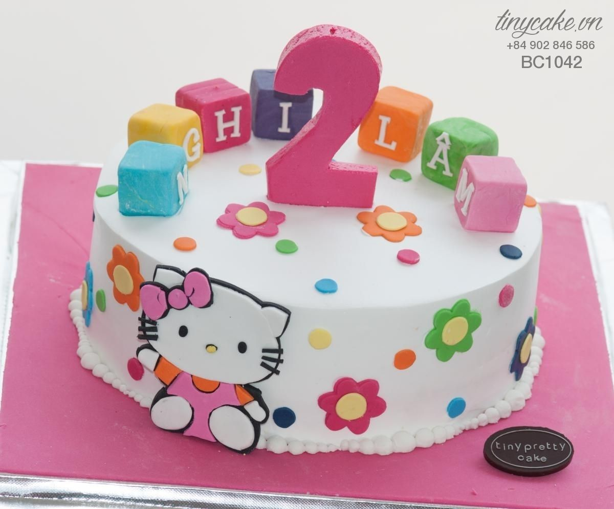 Kitty birthday cake for 2 years old girl TinyCake.VN 183B