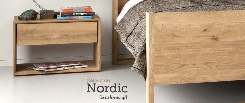 Mesita de noche y cama nordic de Ethnicraft. Roble natural con ...