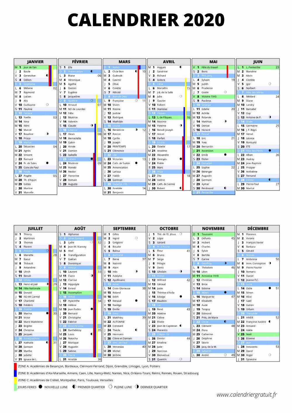 Calendrier Scolaire 2019 Et 2021 à Imprimer Zone A Calendrier Scolaire 2019 2020 Zone A Calendrier 2020 | Calendrier