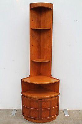 Nathan Tall Teak Vintage Retro Corner Cabinet Alcove Retro