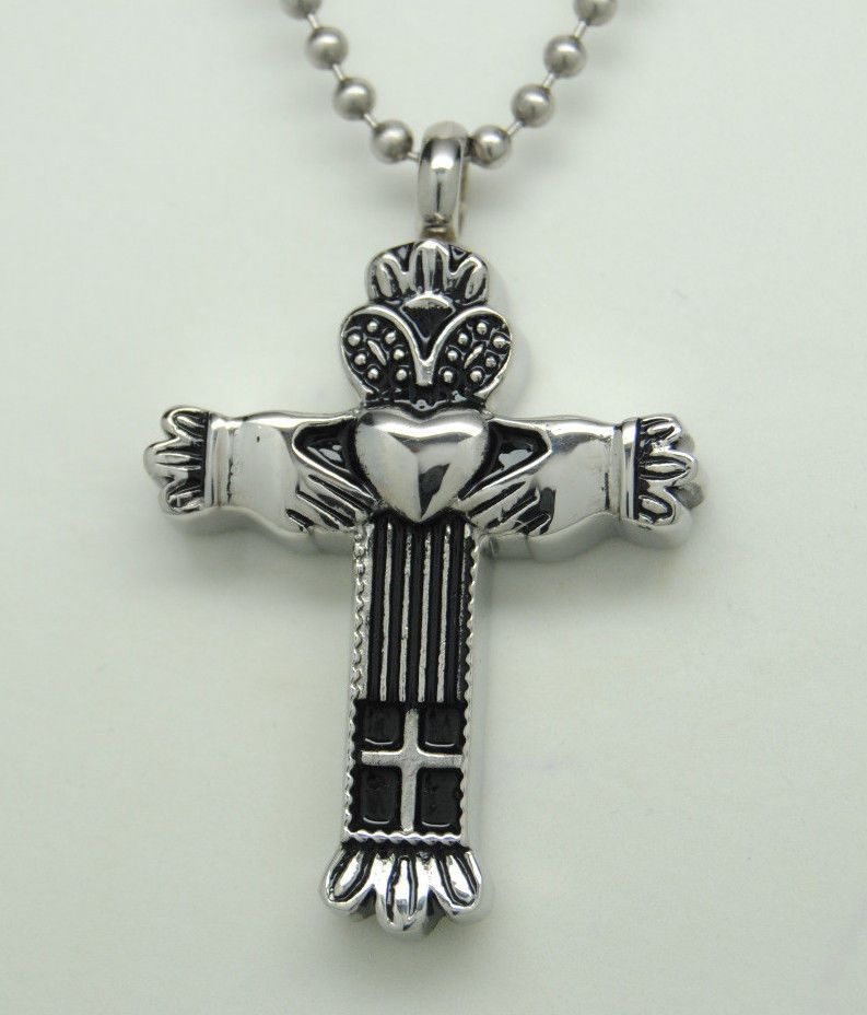 Cross Crucifix Shape Cremation Ash Urn Keepsake Pendant for Necklace Jewelry