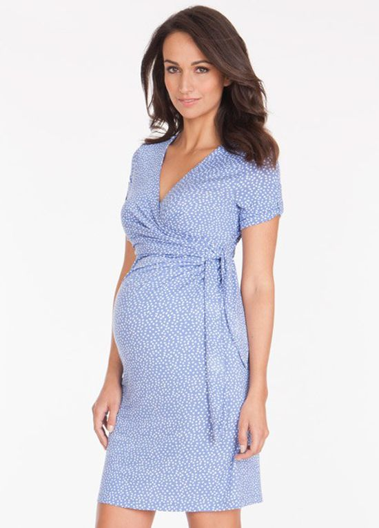 639fab160355b A grown up modern spin on a pretty wrap dress. This baby blue polkadot  maternity/nursing dress is perfect for receiving visitors to see your baby.