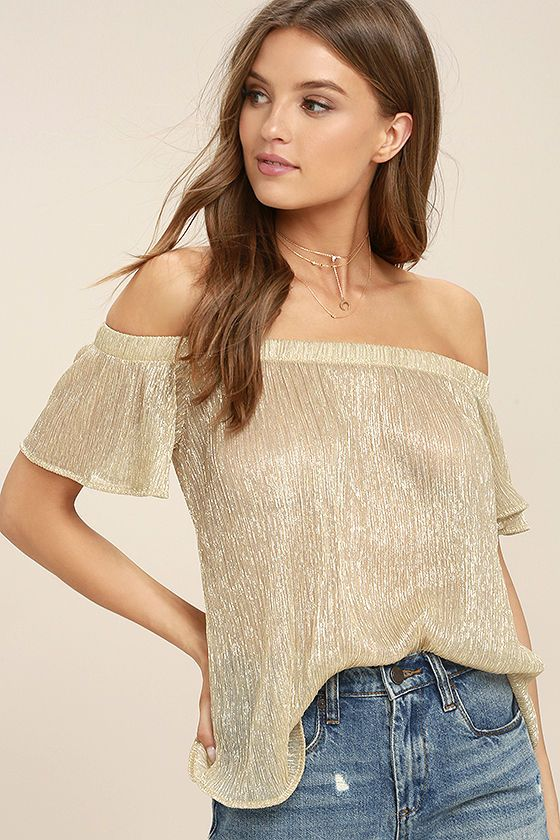 10edfb82bc3 Stardom Gold Off-the-Shoulder Top  