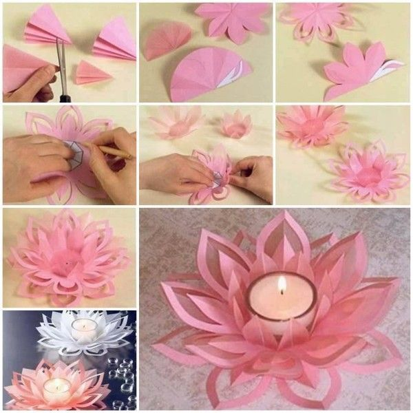 Learn how to make a paper lotus candle holder find fun for Diy paper lotus candlestick