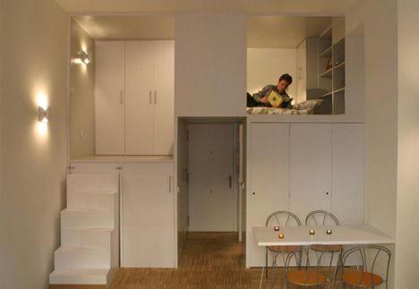 Full Of Surprises 300 Square Foot Office Turned Apartment Apartment Design Loft Living Space Space Saving Apartment