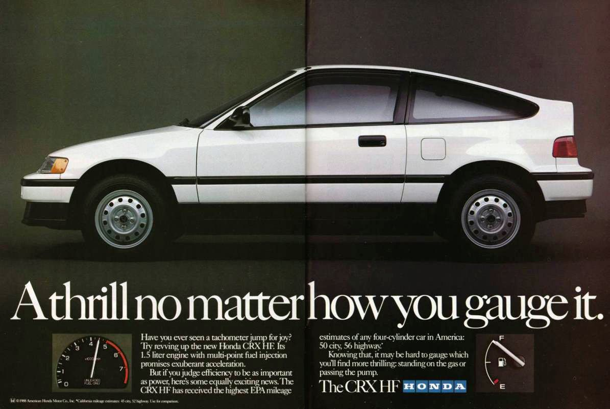 1989 Honda CRX HF Ad | Car ads, brochures & articles | Pinterest ...