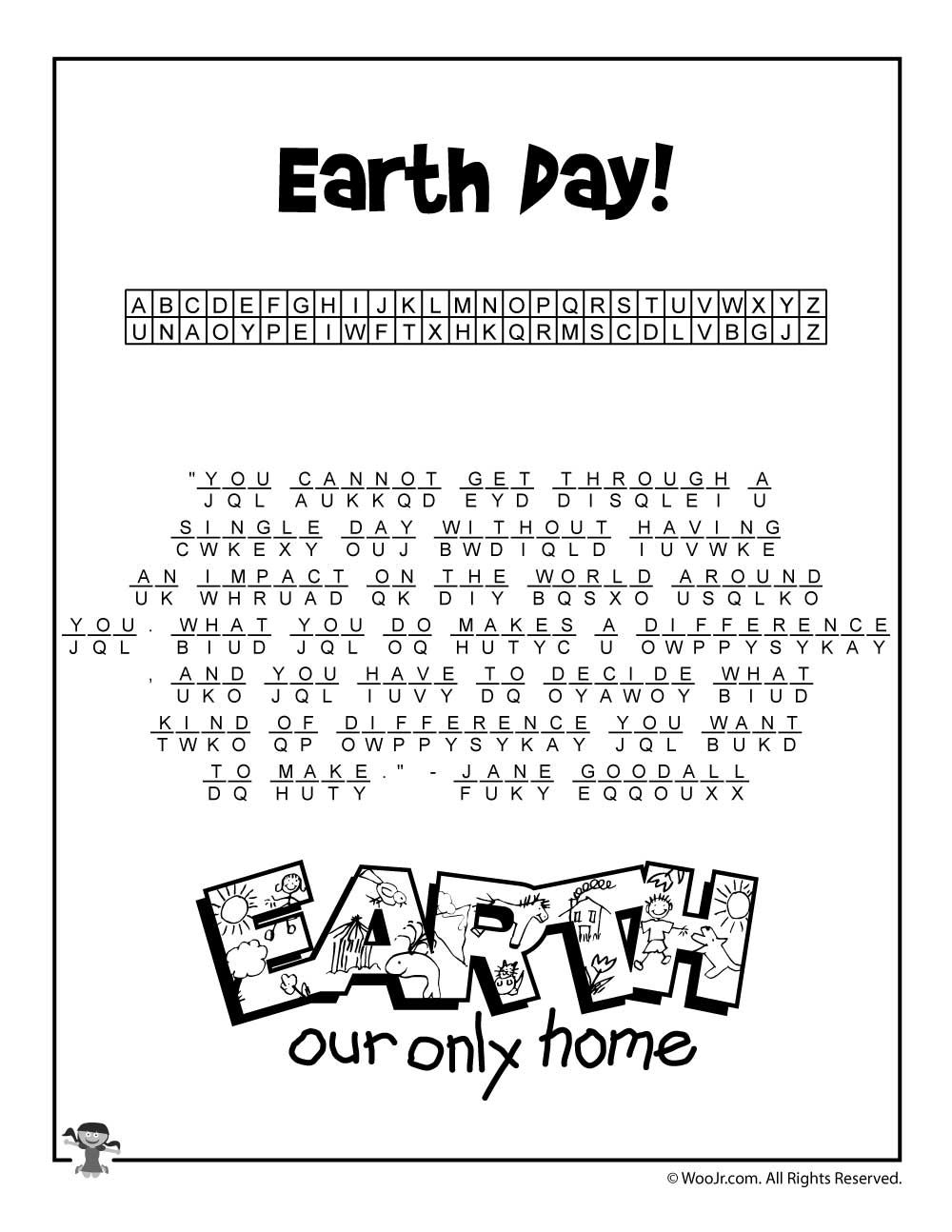 Earth Day Cryptogram Puzzle Solution Woo Jr Kids Activities Word Puzzles Words Solutions