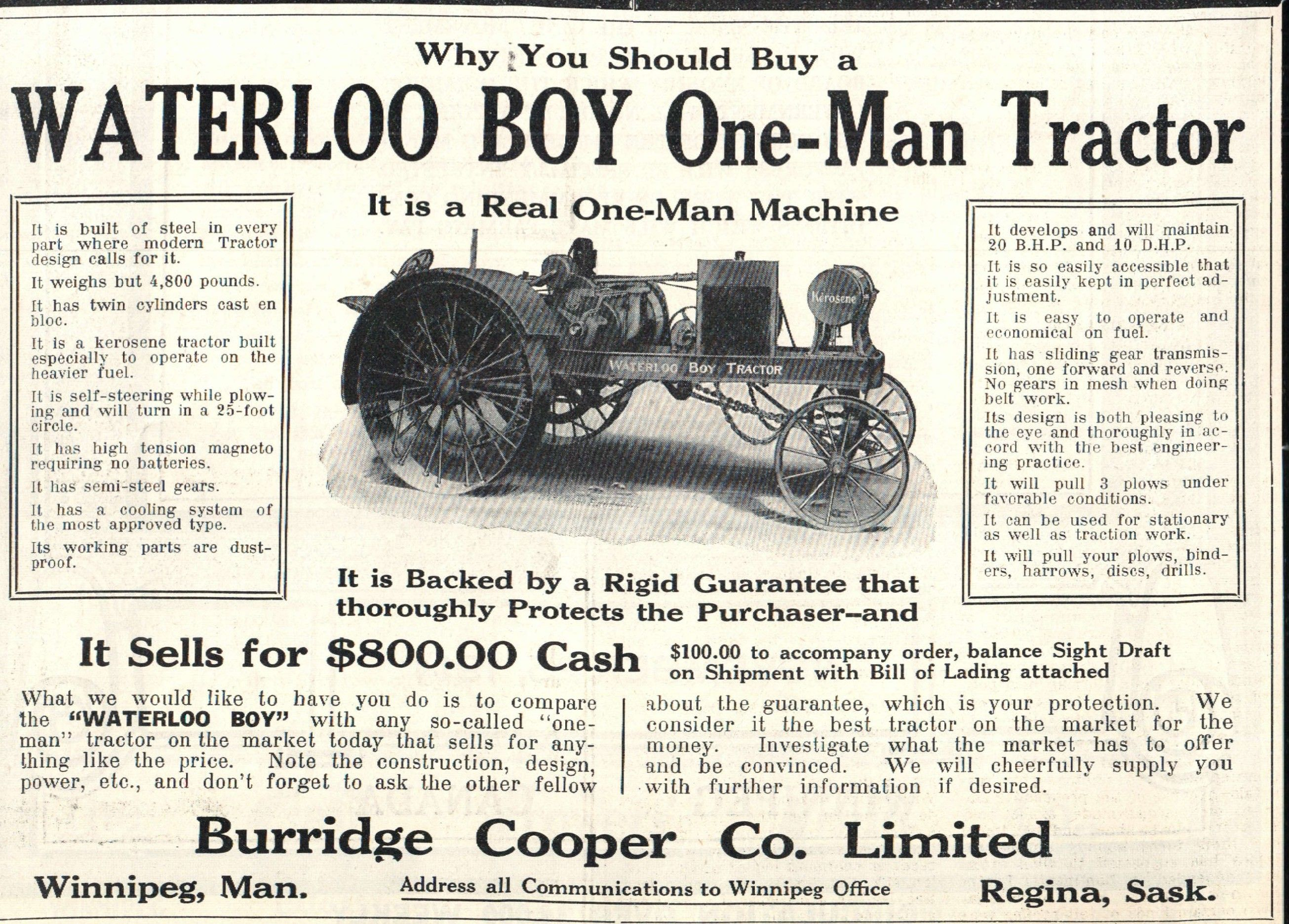 The company manufacturing the Waterloo Boy was purchased by John ...