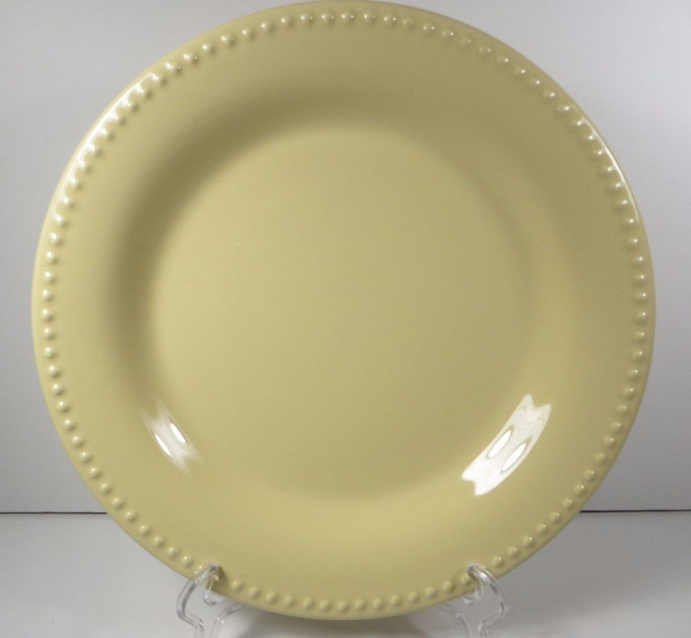 "Pottery Barn Emma 1 Dinner Plate 11.25"" Yellow Beaded"