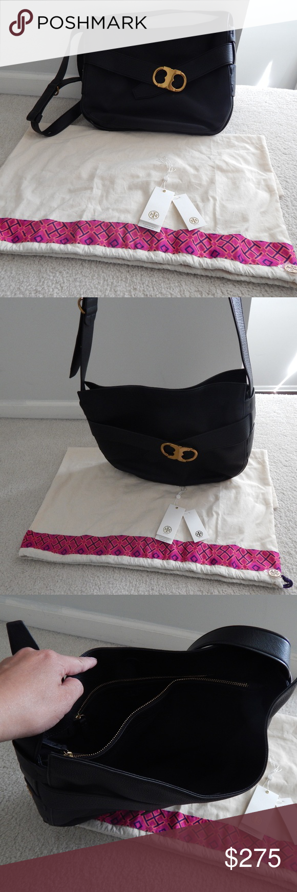 Tory Burch Gemini Belted HOBO bag EUC only worn 3 times - This saddle bag is made of pebbled leather. The easy, slouchy silhouette has two interior zipper pockets and an adjustable strap. Holds a 10