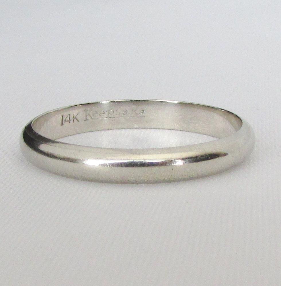 """mens size 11 white gold wedding band - unisex size 11 """"keepsake"""