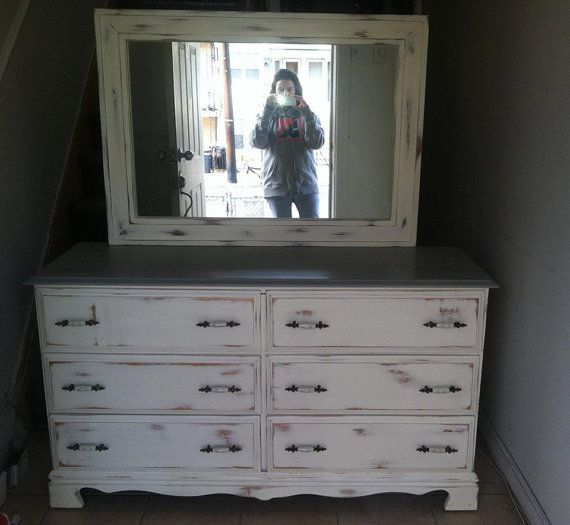 White Shabby Chic Distressed Vintage Dresser With Grey Top Rustic Tv Stand Buffet Changing Table Mirror On Etsy 75 00