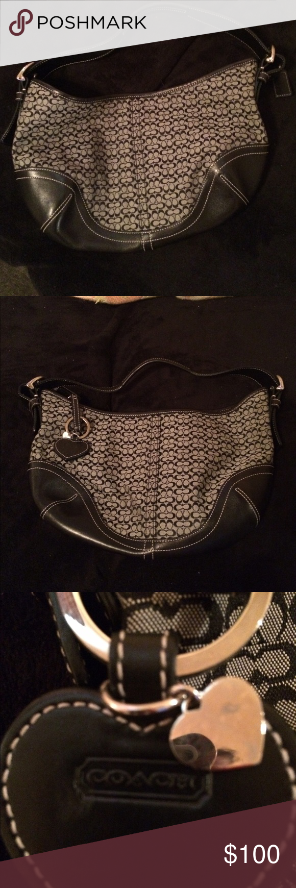 Med. coach woman's black handbag It med. size black lather coach woman's handbag with two small compartments and then a zipper compartment it nice like new Coach Bags Shoulder Bags