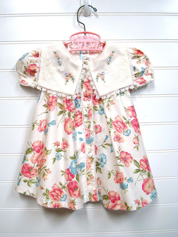 Vintage Baby Clothes, Baby Girl Dress, Cream Floral, Shabby Chic ...