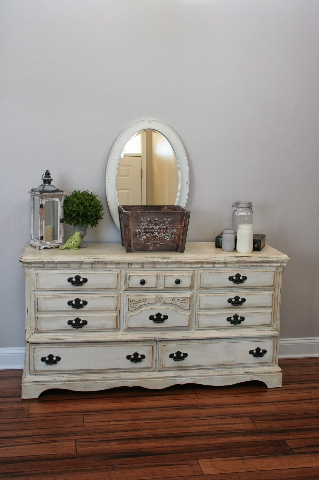 Painted dresser using Annie Sloan Chalk Paint in Old White and Annie ...