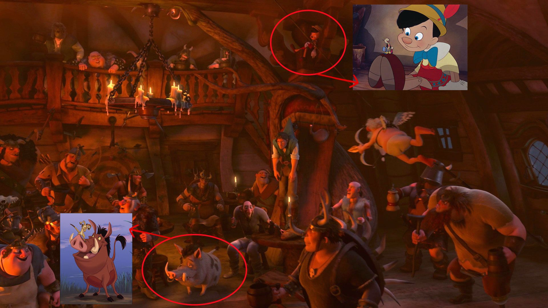 Pinocchio and Pumba in Tangled