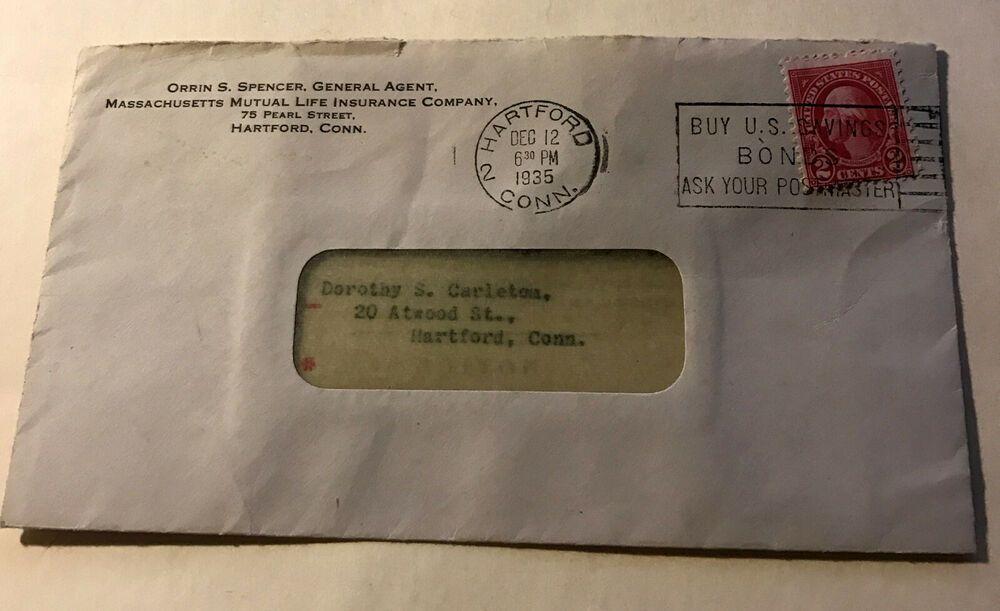 Postmark 1935 2 Cent Stamp Massachusetts Mutual Life Insurance