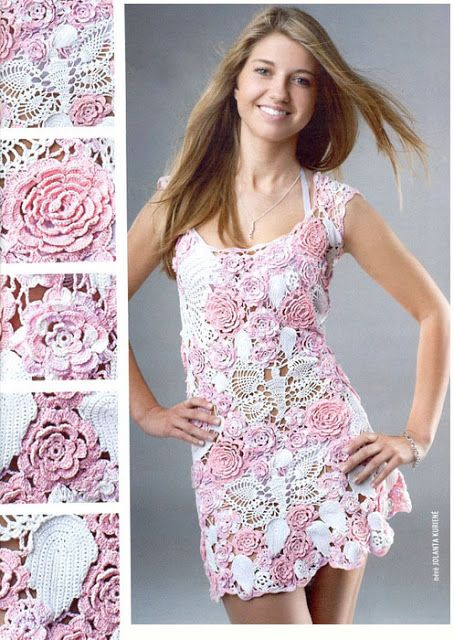 Graficos y Crochet: Vestido en crochet ruso bco rosa | CROCHET ...