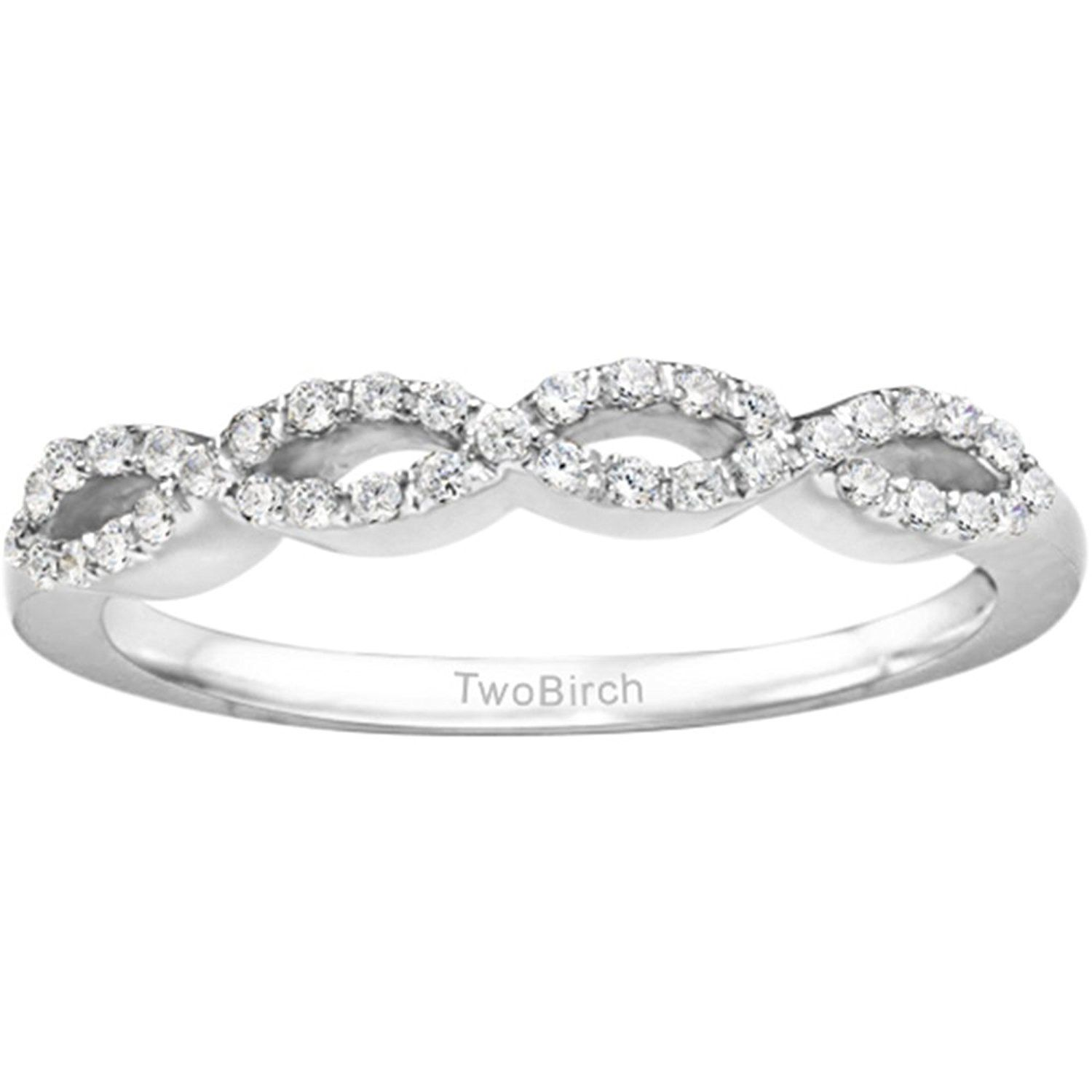 Silver Infinity Style Wedding Band with White Sapphire 0 15 ct