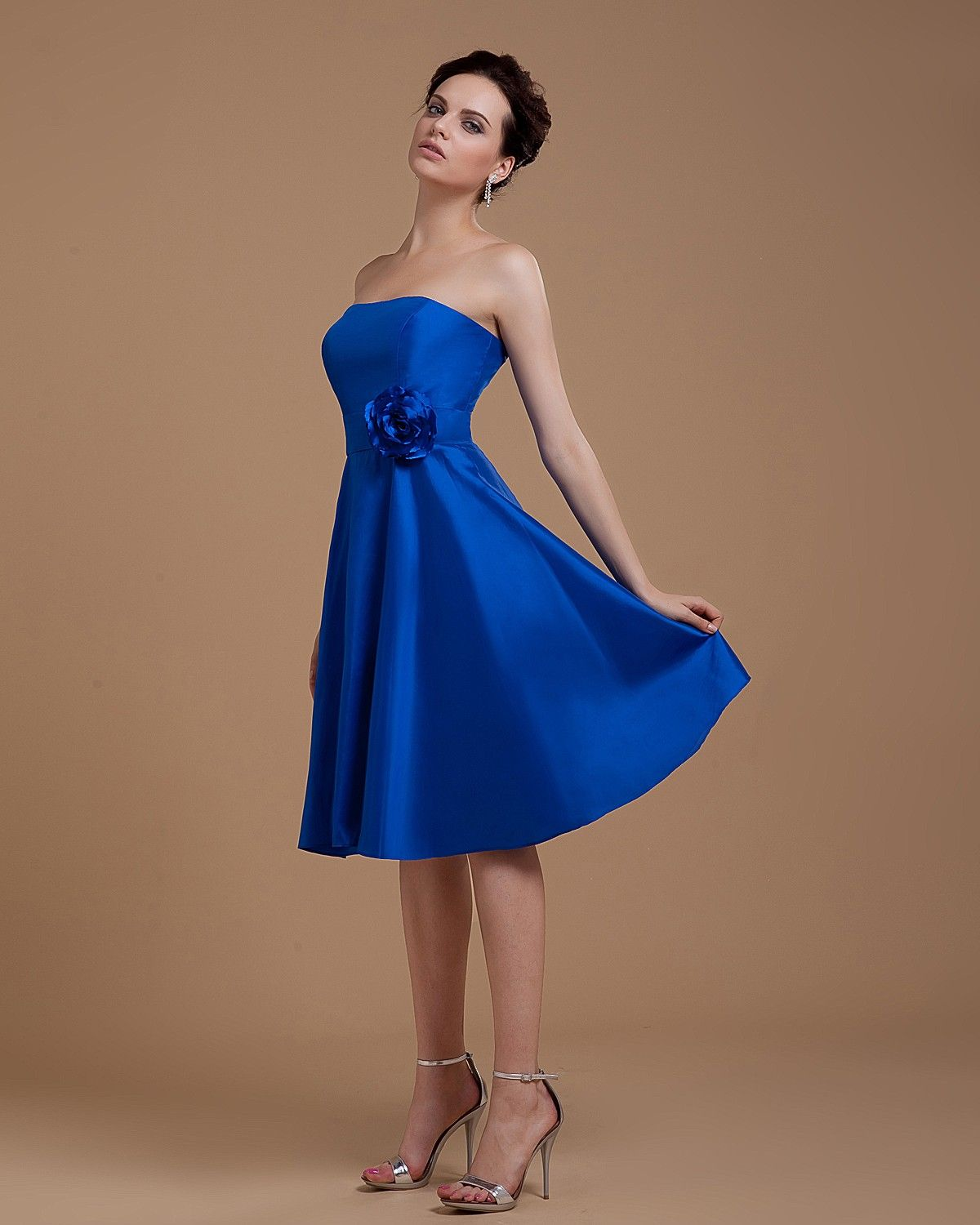 A Line Satin Blue Bridesmaid Dress