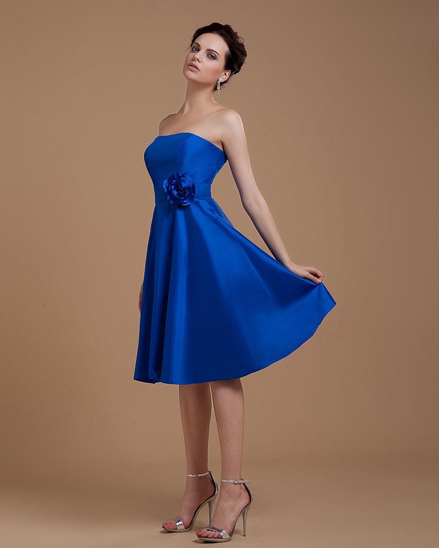 Royal blue and black bridesmaid dresses strapless knee length