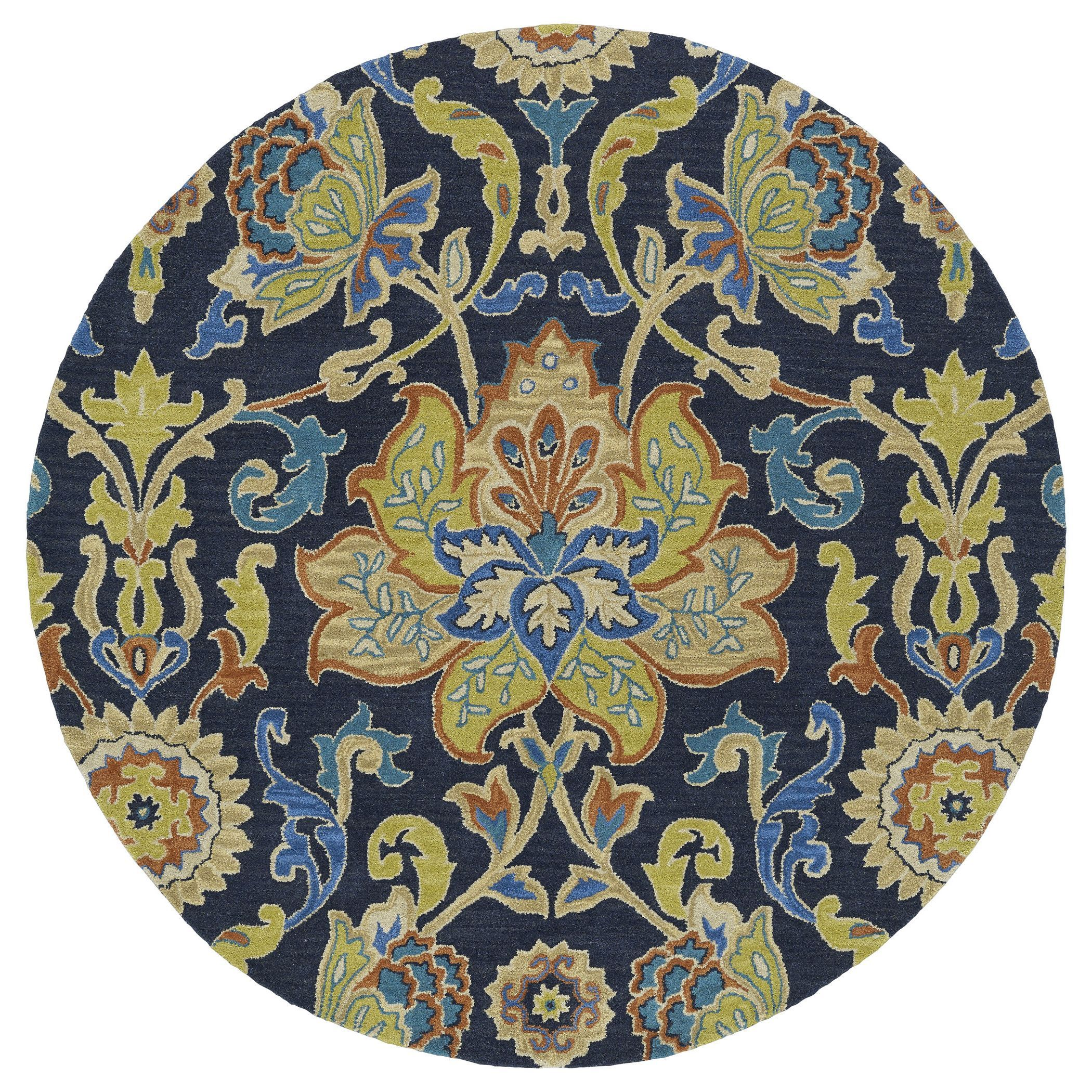 Anabelle Navy Blue Floral Hand Tufted Wool Rug 9 9 X 9 9 Round