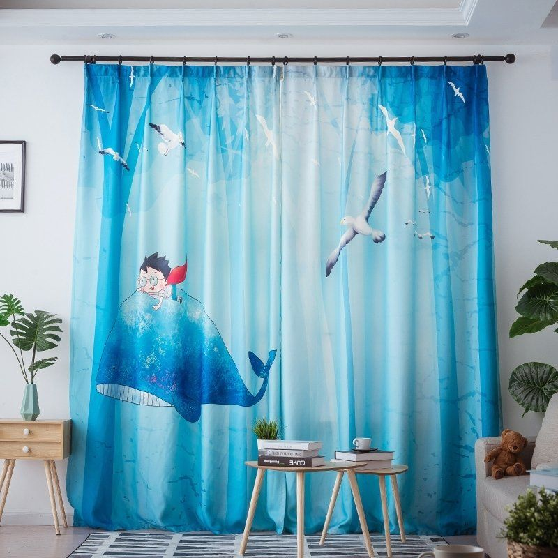 Blue Ocean Themed Fish And Character Cartoon And Cute Cool Kids