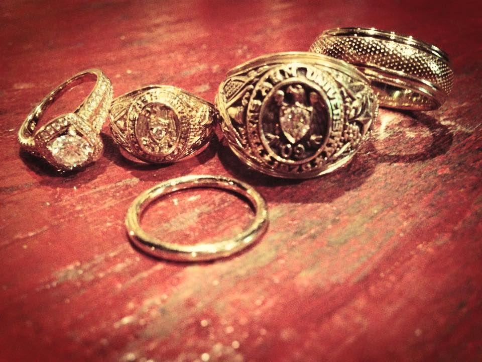 Wedding rings + Aggie rings.  Aggie wedding!