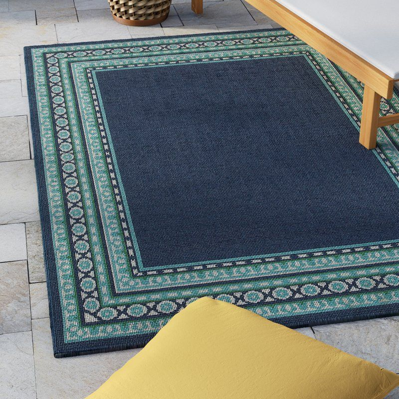 Kailani Navy Green Indoor Outdoor Area Rug With Images Outdoor