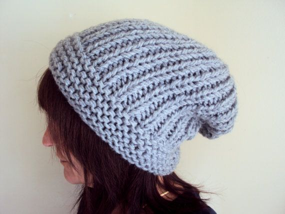 Hand Knit Slouchy Grey Boho Hat Hippie Style Beanie Chunky Beret Men Women Spring Summer Fall Winter Can be MADE TO ORDER by GrahamsBazaar, $32.99